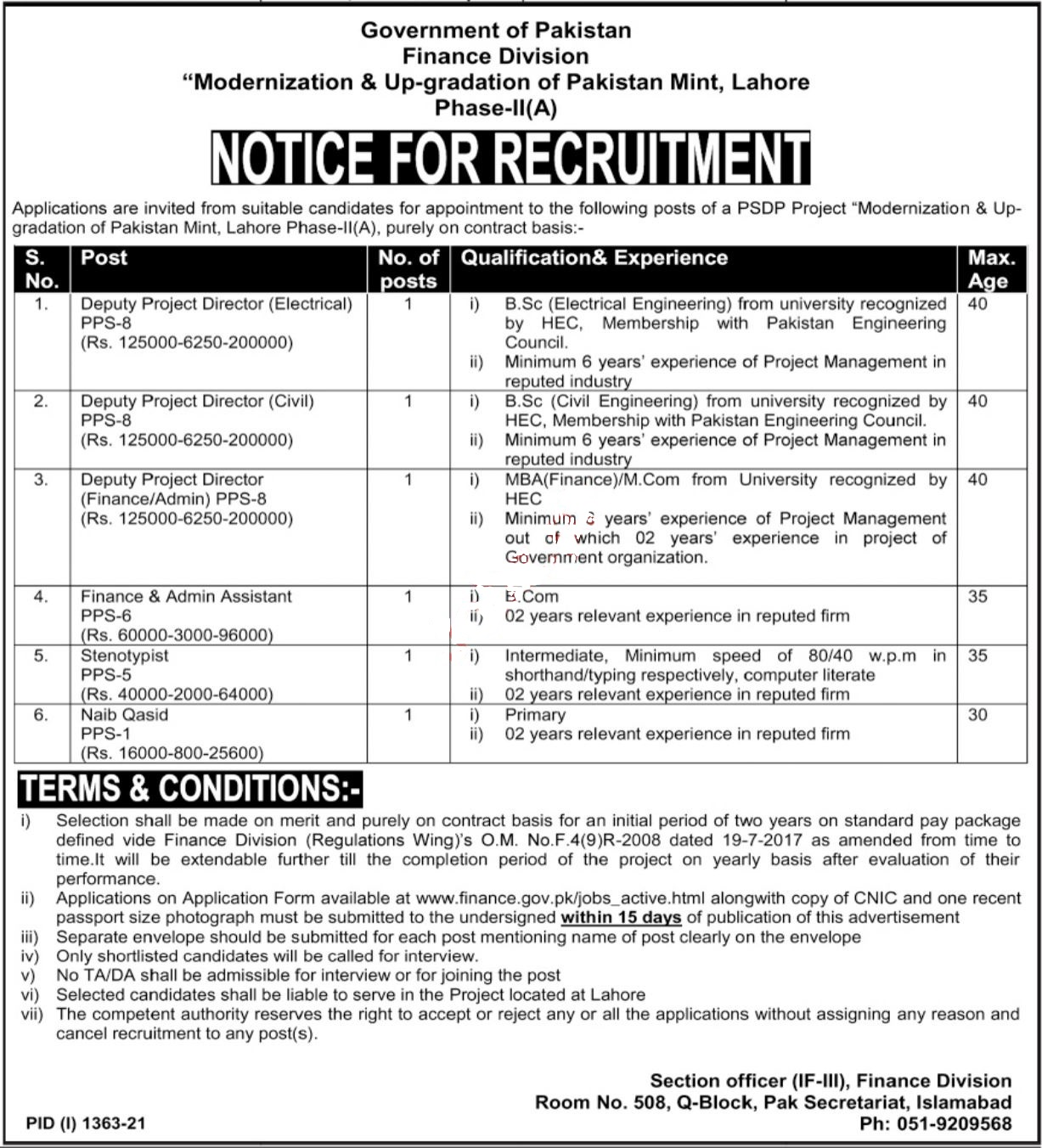 Finance Department Jobs 2021 At Federal Govt of Pakistan Jobs