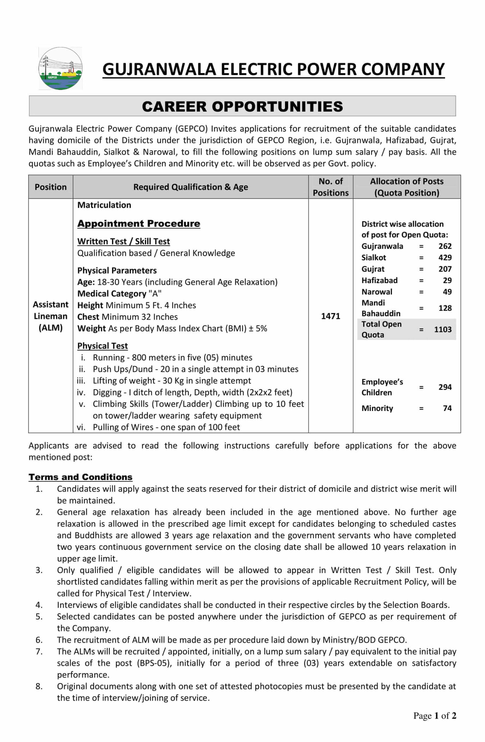 NTS New Jobs Today Ayt Walled City of Lahore Authority & GEPCO