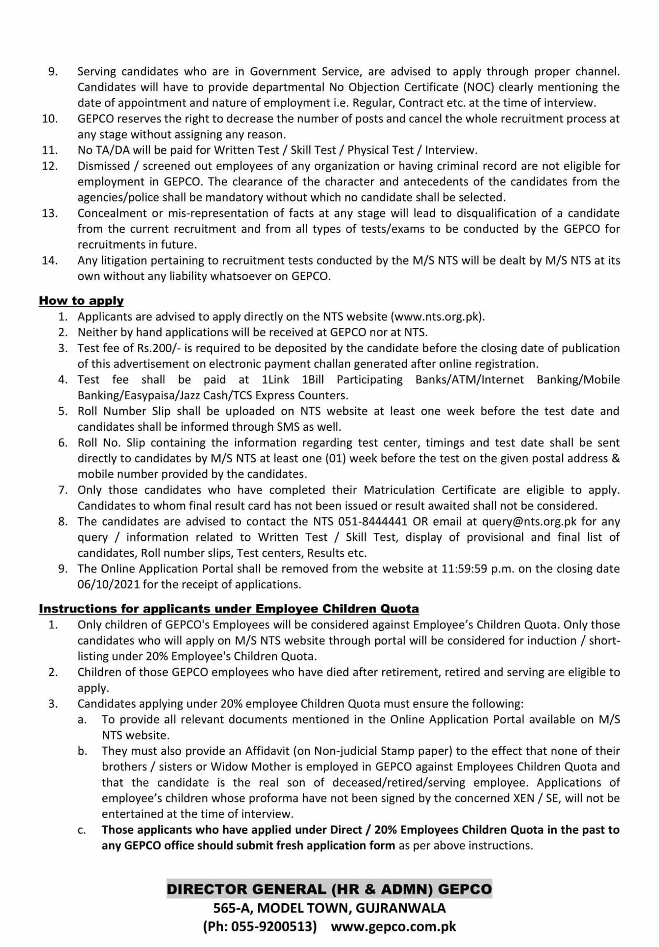 NTS New Jobs Today At Walled City of Lahore Authority & GEPCO Gujranwala