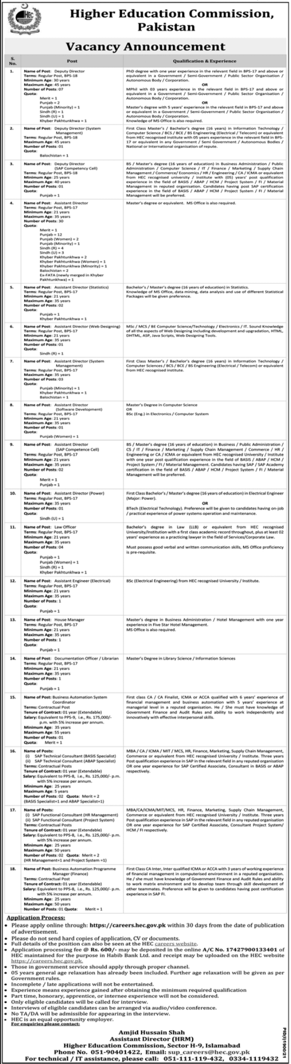 Today Government Jobs in Pakistan 26 September 2021 At HEC