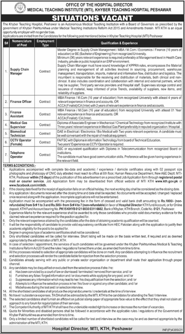 Today Government Jobs in Peshawar 2021 At Khyber Teaching Hospital Peshawar