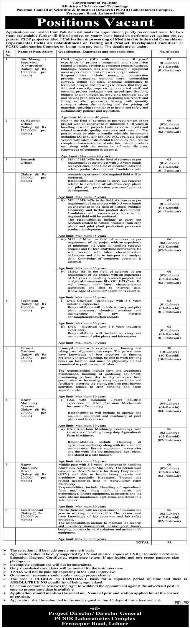 Latest Govt jobs in Pakistan 2021 At Ministry Of Science and Technology,  PO Box 1756 GPO Islamabad,  Ministry of National Health Services, PITB Punjab Information Technology Board  &  Government Special Education Centre Jhelum