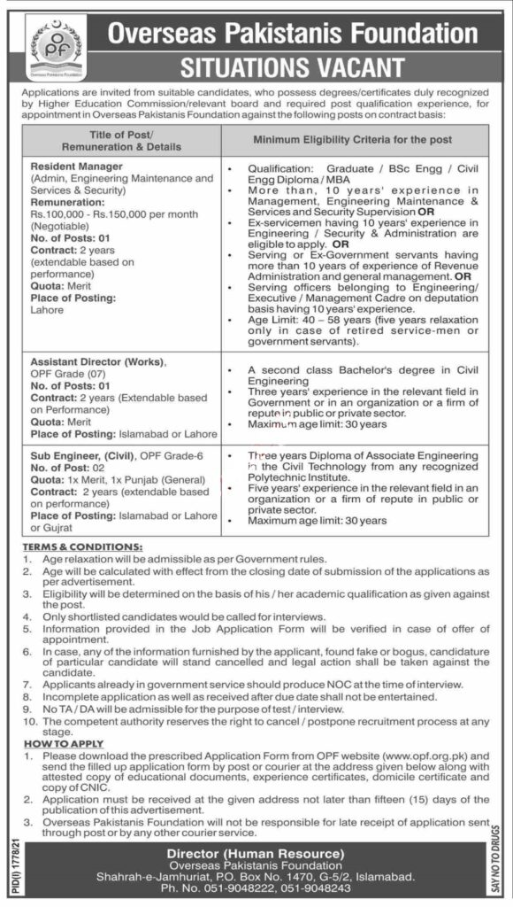 OPF Overseas Pakistanis Foundation Jobs 2021 Latest Punjab Jobs