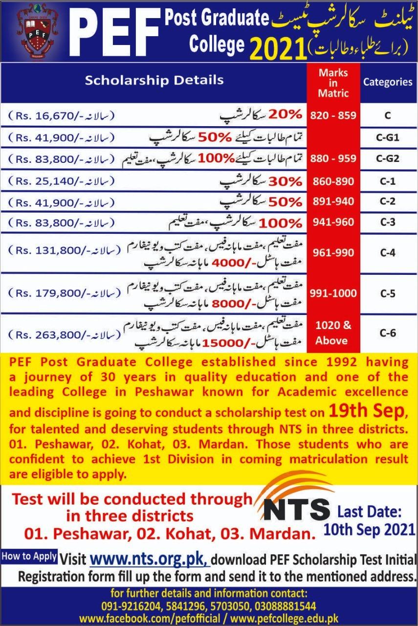 PEF Post Graduate College Peshawar Scholarship Test NTS Roll No Slip