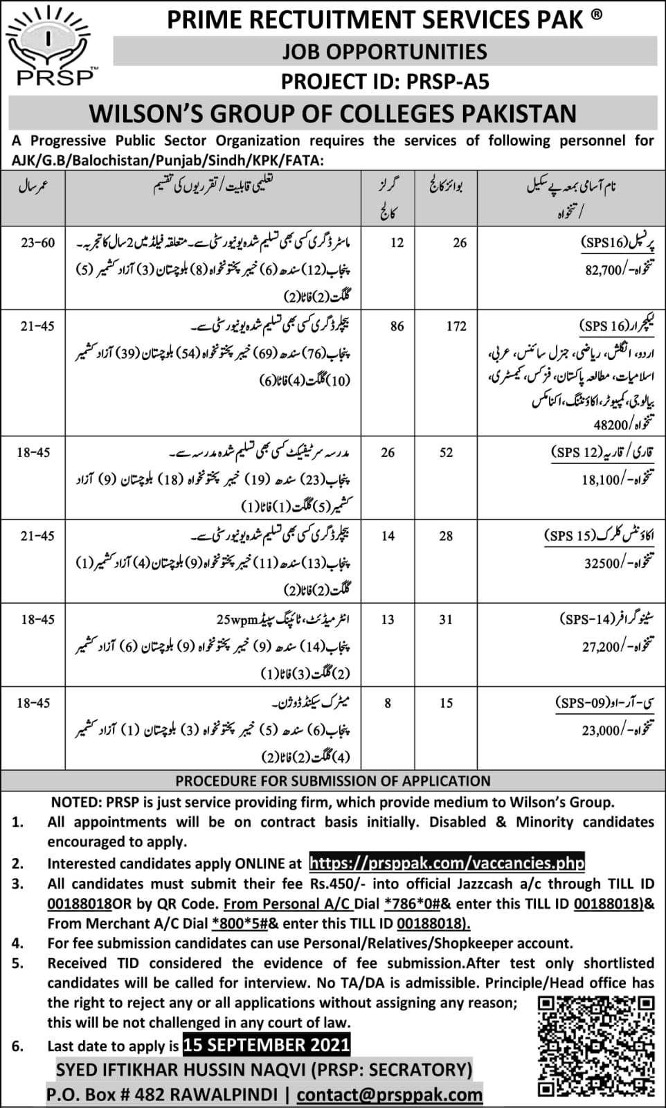 Latest Government jobs in Pakistan Today At Wilson Group of Colleges Via Prime Recruitment Services Pakistan PRSP