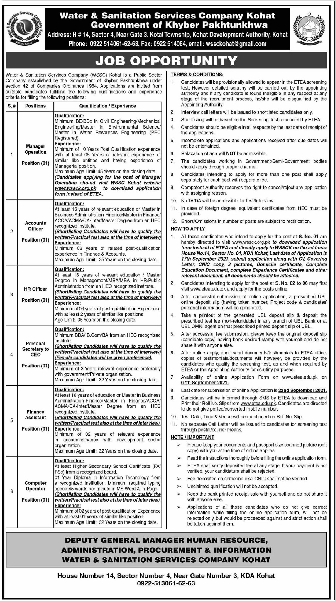 Local Govt KPK Jobs Today At WSSC Kohat Water and Sanitation Services