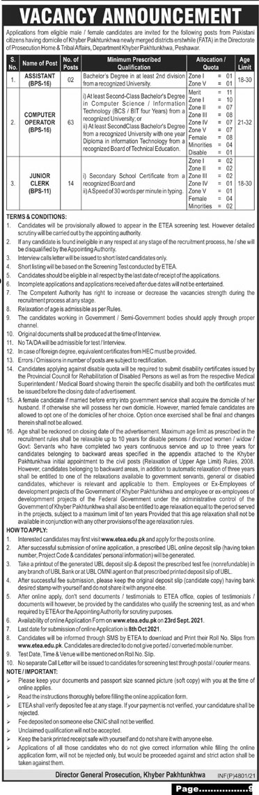 Directorate of Prosecution Home Tribal Affairs Jobs ETEA Roll No Slips
