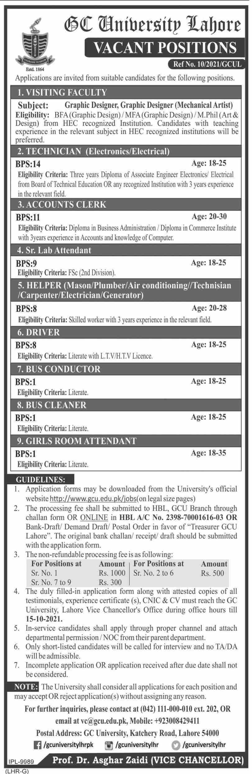 Govt Jobs 2021 in Lahore At Lahore Government College University GCU