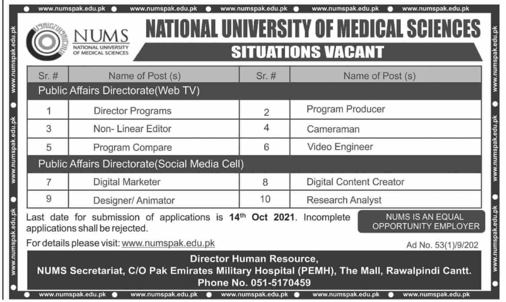 Govt jobs In Rawalpindi 2021 Today At NUMS Rawalpindi National University of Medical Sciences