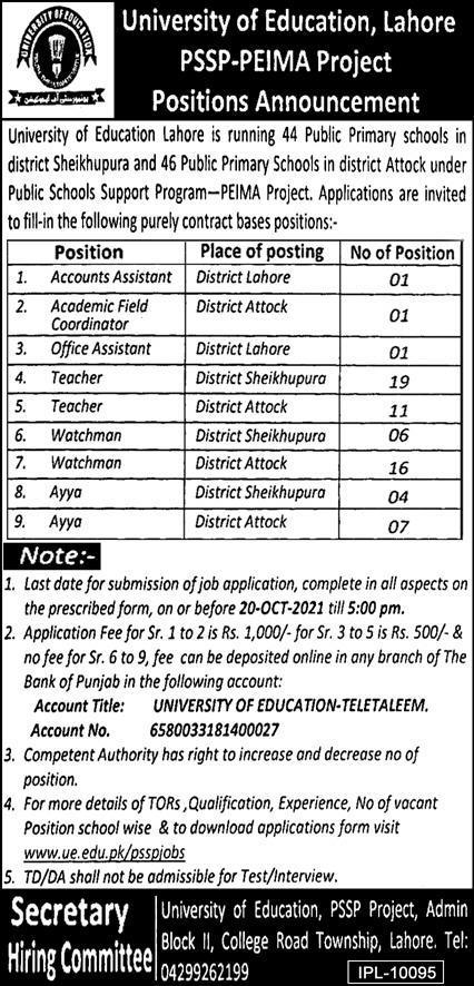 Latest Govt jobs in Punjab 2021 University Of Education Lahore