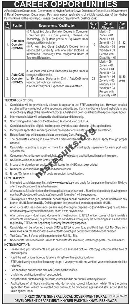 Local Government & Rural Development Department Jobs ETEA Slip