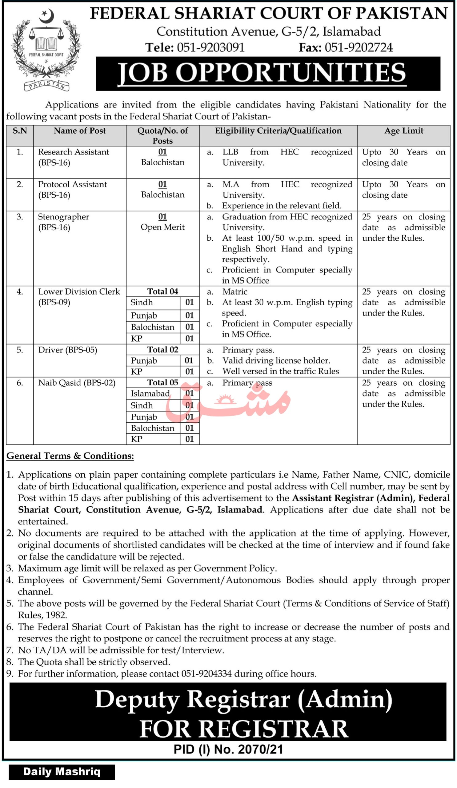 Latest Govt Jobs in Pakistan Today 2021 At Federal Shariat Court