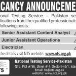NTS Jobs Roll No Slip Electrician Senior Assistant Content Analyst Junior Assistant Operations