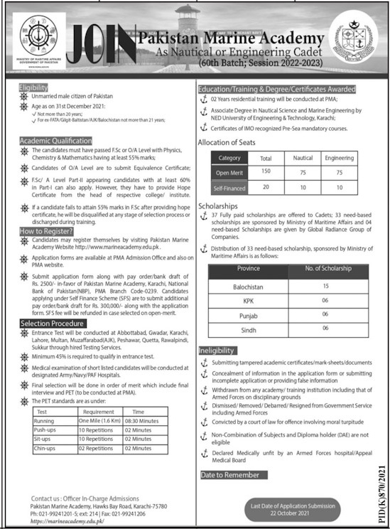 Government Jobs in Karachi For Intermediate At PMA Pakistan Marine Academy