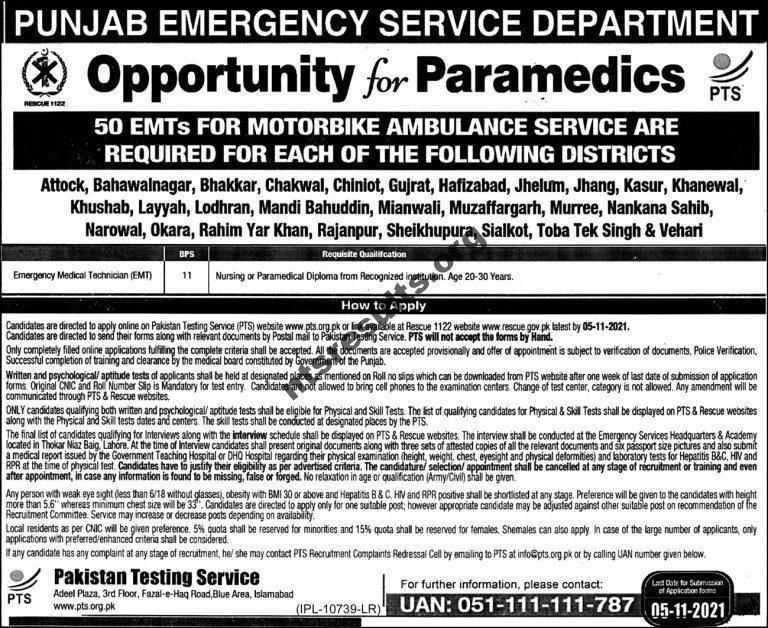 Rescue 1122 Jobs 2021 At Punjab Punjab Emergency Service Department